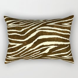 Animal Print Zebra in Winter Brown and Beige Rectangular Pillow