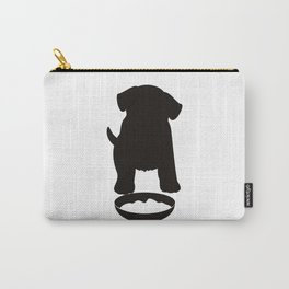 Puppy Dog Eating Food Silhouette Carry-All Pouch