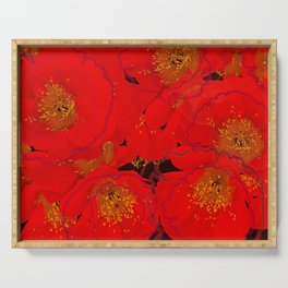 Abstract poppies 2 Serving Tray