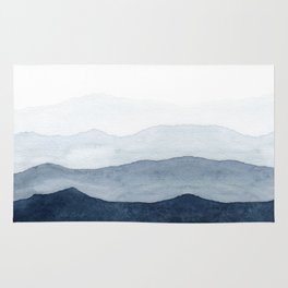 Indigo Abstract Watercolor Mountains Rug