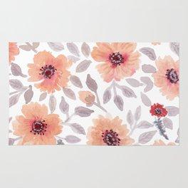 Watercolor . Salmon flowers . Rug