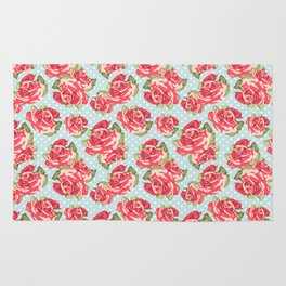 English Roses Blue Polka Dots Rug