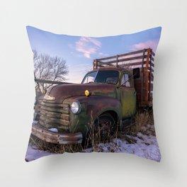 Abandoned Farm Truck Throw Pillow
