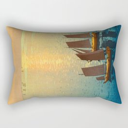 Hiroshi Yoshida Vintage Japanese Woodblock Art Ocean Sunset Sailboat Orange Blue Color Hues Rectangular Pillow