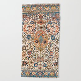 Isfahan Antique Central Persian Carpet Print Beach Towel