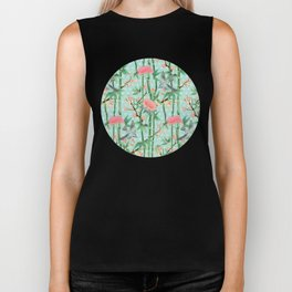 Bamboo, Birds and Blossom - soft blue green Biker Tank