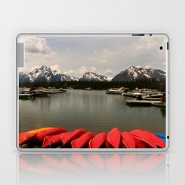 Canoe Meeting At Jackson Lake Laptop & iPad Skin