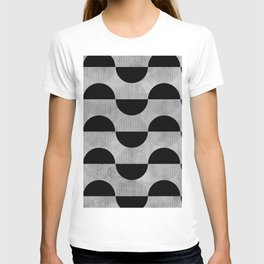 Black abstract 60s circles on concrete - Mix & Match with Simplicty of life T-shirt