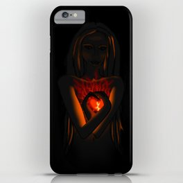 Beautiful Woman With Glowing Healing Heart iPhone Case