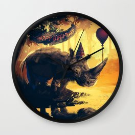 Lonely Rhino Wall Clock