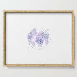 world map pink blue, the globe of the earth and flowers , home decor, graphic-design Serving Tray