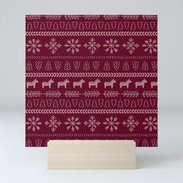 Scandinavian Christmas in Maroon Mini Art Print