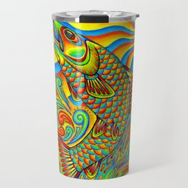 Psychedelic Rainbow Trout Fish Travel Mug