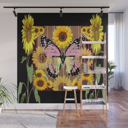BLACK ABSTRACT PINK BUTTERFLY SUNFLOWER FLORAL Wall Mural