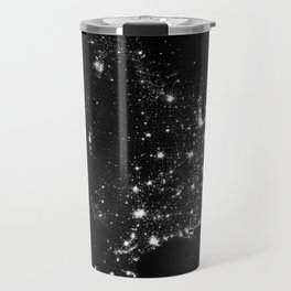 The Lights of the USA (Black and White) Travel Mug