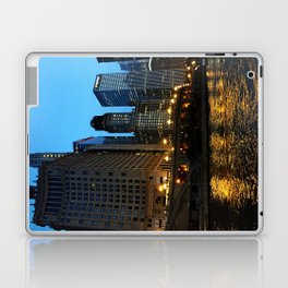 Chicago River and Buildings at Dusk Color Photo Laptop & iPad Skin