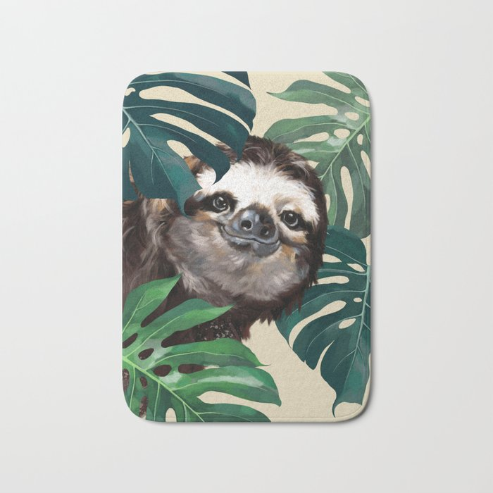 Sneaky Sloth with Monstera Bath Mat