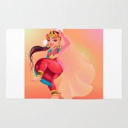 Indian dancer representing the veil of Maya Rug
