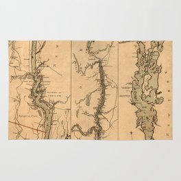 Map Of The Hudson River 1777 Rug