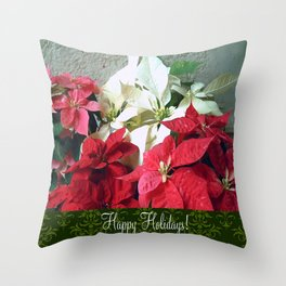 Mixed color Poinsettias 3 Happy Holidays S6F1 Throw Pillow