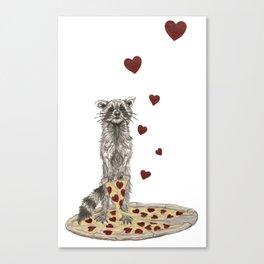 Trash Panda Hearts Pizza Canvas Print