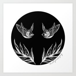 Sparrows and Ferns Art Print