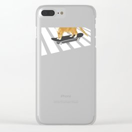 Skateboarding cat Clear iPhone Case