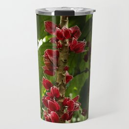 Red Flowers with Green leaf background Travel Mug