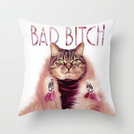 Bad Bitch Cat Throw Pillow