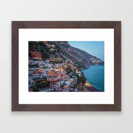 Positano sparkling at dusk Framed Art Print