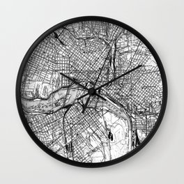 Vintage Map of Richmond Virginia (1934) BW Wall Clock