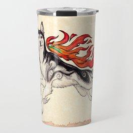 Marukomu Inukami ~ Ōkami inspired husky dog, watercolor & ink, 2015 Travel Mug