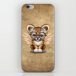 Tiger Cub with Fairy Wings Wearing Glasses iPhone Skin