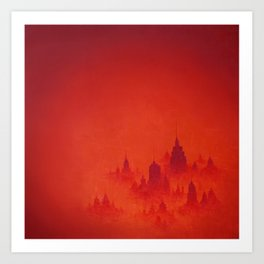 Red City Dusk Archival Giclee Print - Red Modern Art for the Office - Contemporary Wall Art Art Print