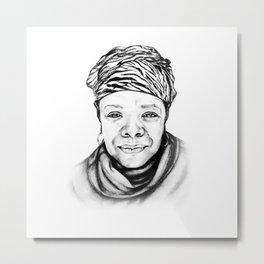 Maya Angelou - BW Original Sketch Metal Print