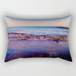 beach sunset with beautiful blue cloudy sky and blue wave in summer Rectangular Pillow