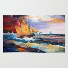 Fishing boats in the sea at sunset Rug
