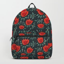 Abstract Red Tulip Floral Pattern Backpack