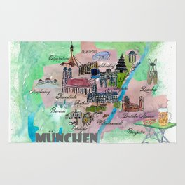 Munich Map Travel Poster Overview Best Of Typical Highlights Rug