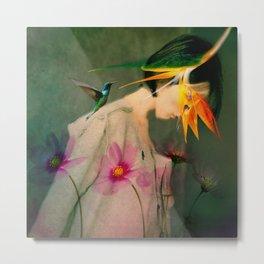 Woman between flowers / La mujer entre las flores Metal Print