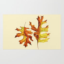Ink And Watercolor Painted Dancing Autumn Leaves Rug