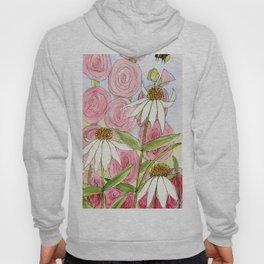 Pink Hollyhock and White Coneflower Garden Flowers Hoody