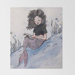 The Merbabe and Her Waterproof Book. Throw Blanket