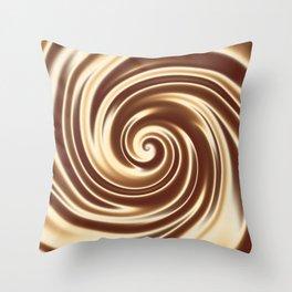 Chocolate milk cocktail spiral Throw Pillow