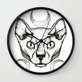 Moon Kitty Wall Clock