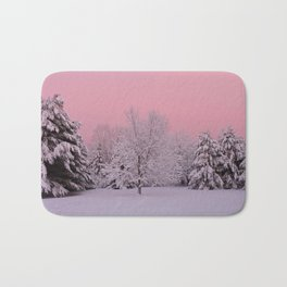 Pink Winter Sky and Snowy Trees Bath Mat