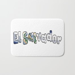 El Salvador Font with Salvadoran Flag Bath Mat