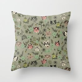 Floating Cat Head Throw Pillow