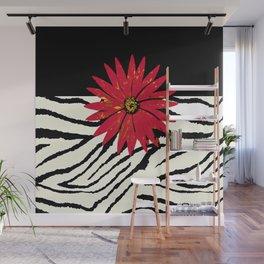 Animal Print Zebra Black and White and Red flower Medallion Wall Mural
