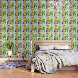 Green Geometric Grungy Diamond Pattern Wallpaper